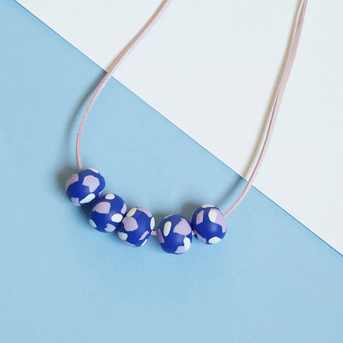 Five Bead - Blue Lilac and White