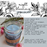 Hand Poured Candle 'Night Blooming Jasmine' with ingredients by Anna Palamar Designs