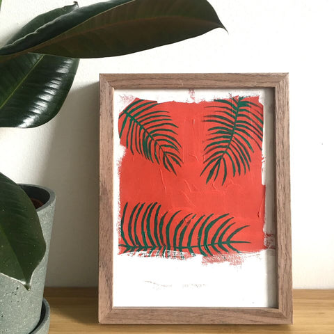 Palm on Red Painting by Lu Prints