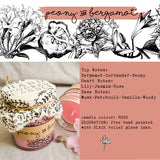 Hand Poured Candle 'Peony & Bergamot' with ingredients by Anna Palamar Designs