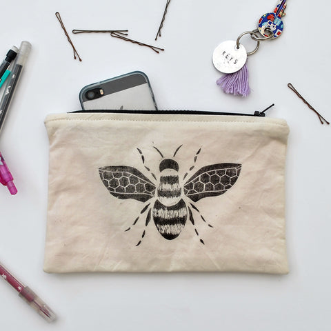 Bee Print Zipper Pouch