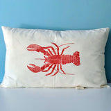Red Lobster Print Cushion Cover