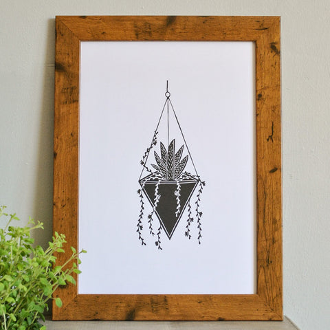 Hanging Terrarium Succulent Print by The Delightfully Chaotic Company