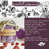 Hand Poured Candle 'Violet Jasmine & Dark Fruits' with ingredients by Anna Palamar Designs