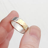 Hammered Recycled Gold & Silver Chunky Ring