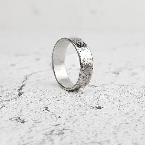 Textured Eco-Silver Crackled Ring