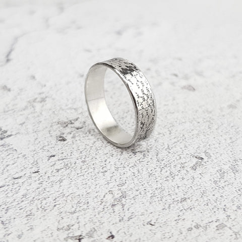 Lace Textured Eco-Silver Ring