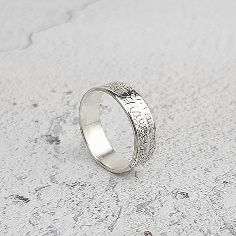 Leaf Textured Eco-Silver Ring