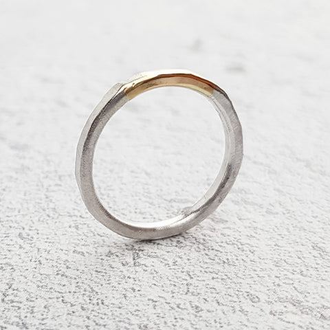 Hammered Recycled Gold & Silver Narrow Ring
