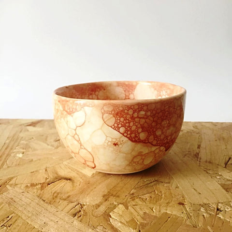 Ceramic Bowl with Orange Bubbles by Fallow Deer Ceramics