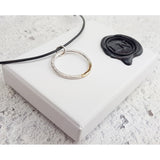 Hammered Recycled Gold & Silver Pendant and Packaging
