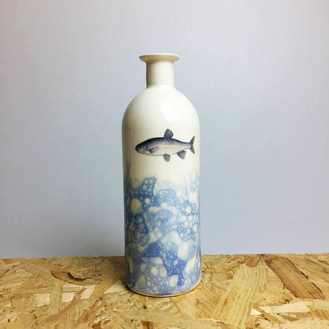 Ceramic Bottle with Fish Design