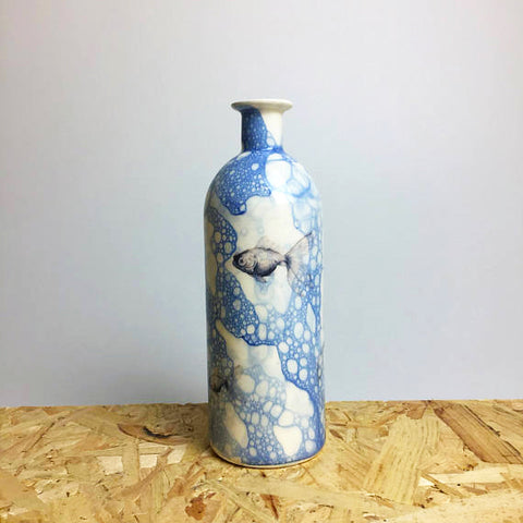 Ceramic Bottle with Goldfish Design