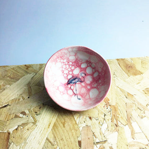 Ceramic Bowl with Flamingo Design