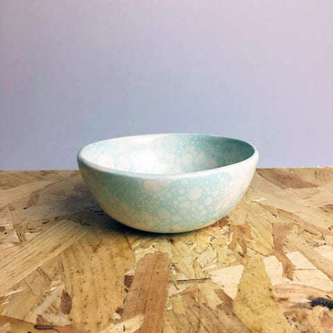 Ceramic Bowl with Light Blue Bubbles