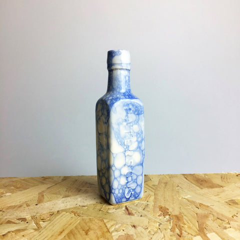 Ceramic Vintage Bottle with Blue Bubbles