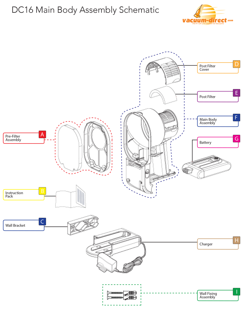 Dyson DC16 Main Body Assembly Parts Diagram