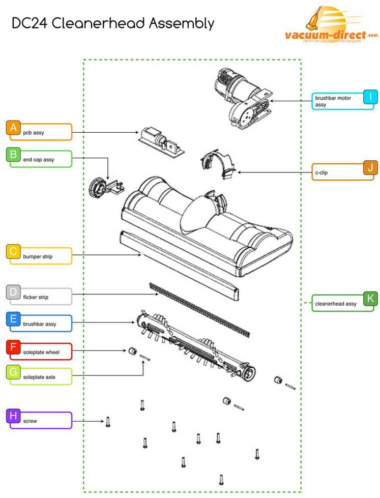 Dyson DC24 Cleanerhead Assembly Parts Schematic