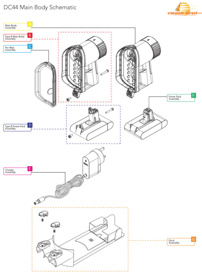 Dyson DC44 Main Body Parts Diagram