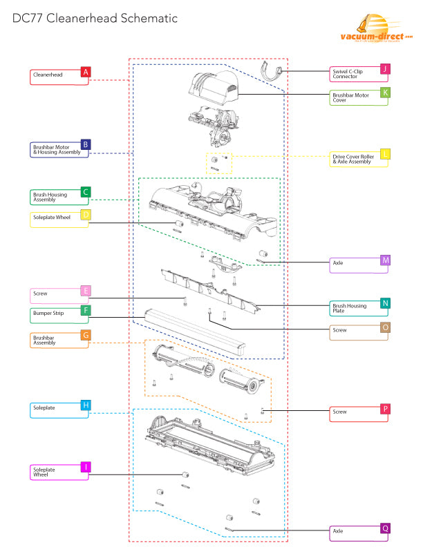DC77 Cleanerhead Parts Diagram