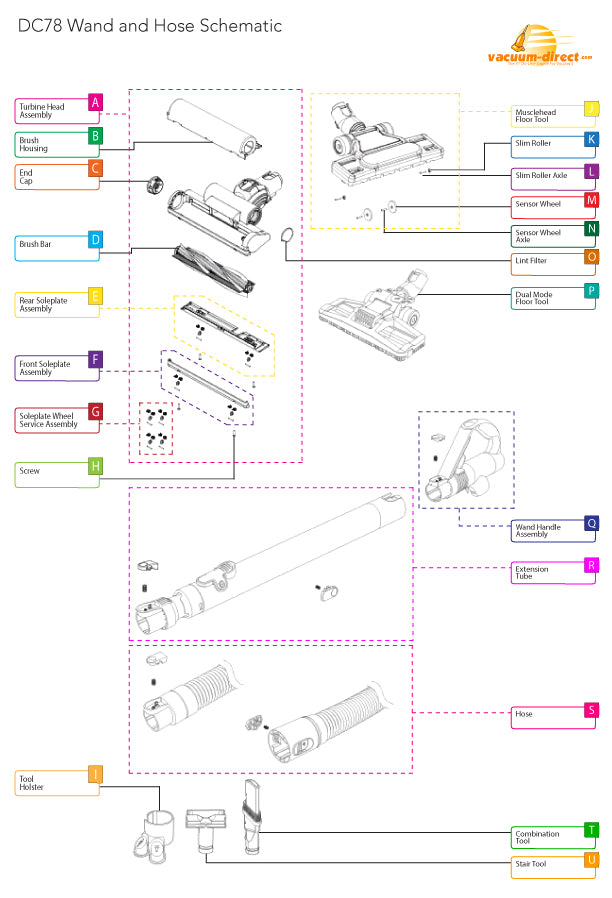 Dyson DC78 Wand and Hose Parts Diagram