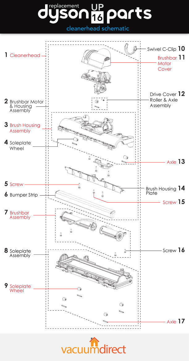 UP16 Cleanerhead Parts Diagram
