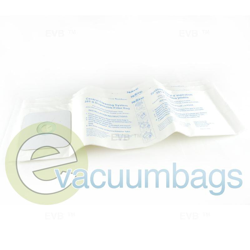 Nutone & Electrolux Central Vac 8 Gallon Genuine Paper Vacuum Bags 3 Pack  391-8 07-2404-01