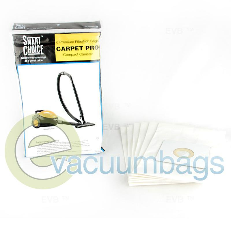 Carpet Pro CPCC-1 Fuller Brush FBCC-1 Compact Canister Paper Vacuum Bags 6 Pack  CC-6 09-2427-02