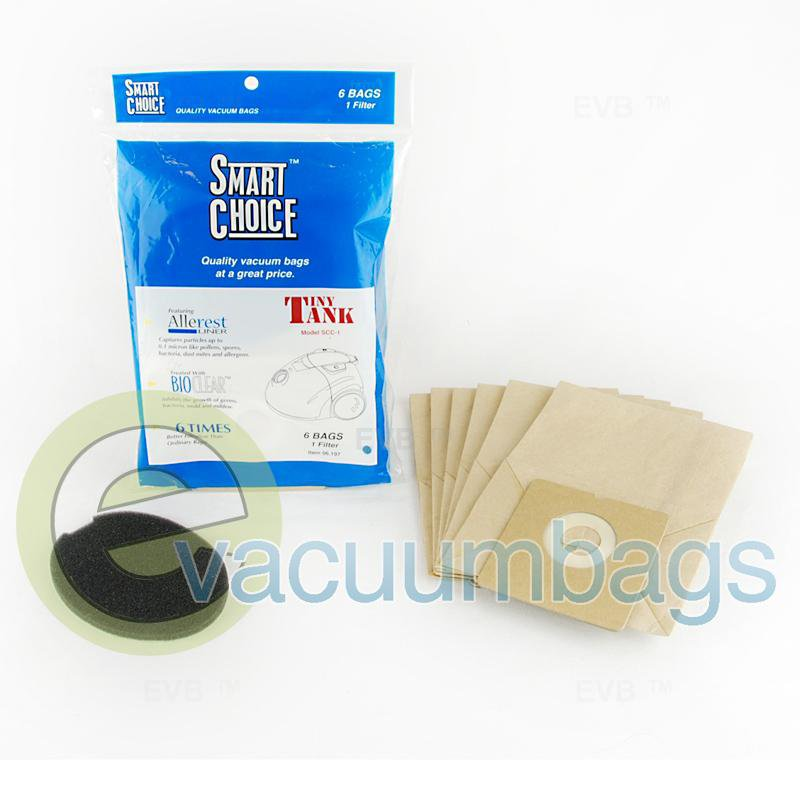 Carpet Pro SCC-1 Tiny Tank Compact Canister Paper Vacuum Bags 6 Pack + 1 Filter  06.197 09-2428-05