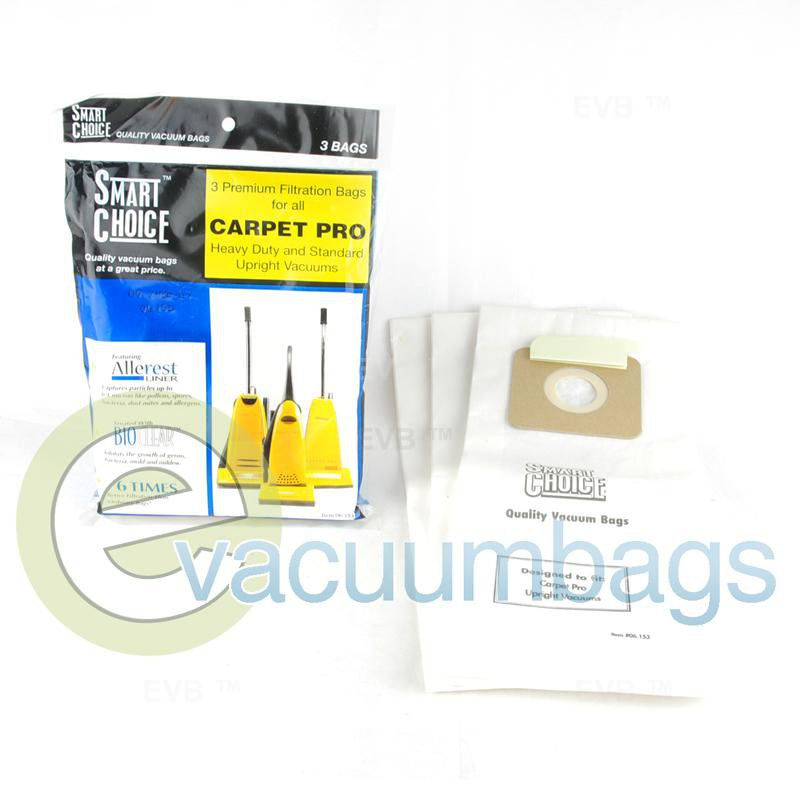 Carpet Pro Heavy Duty and Standard Upright Paper Vacuum Bags 3 Pack  06.153 09-2430-07