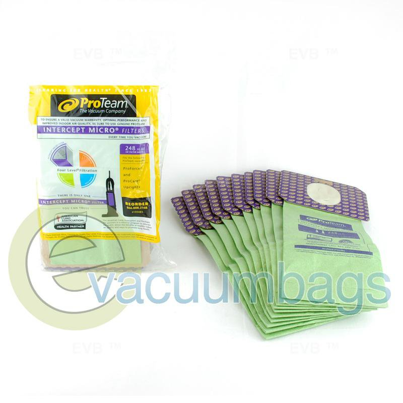 ProTeam ProForce and ProCare Upright Intercept Micro Filter Vacuum Bags 10 Pack  103483 14-2459-06