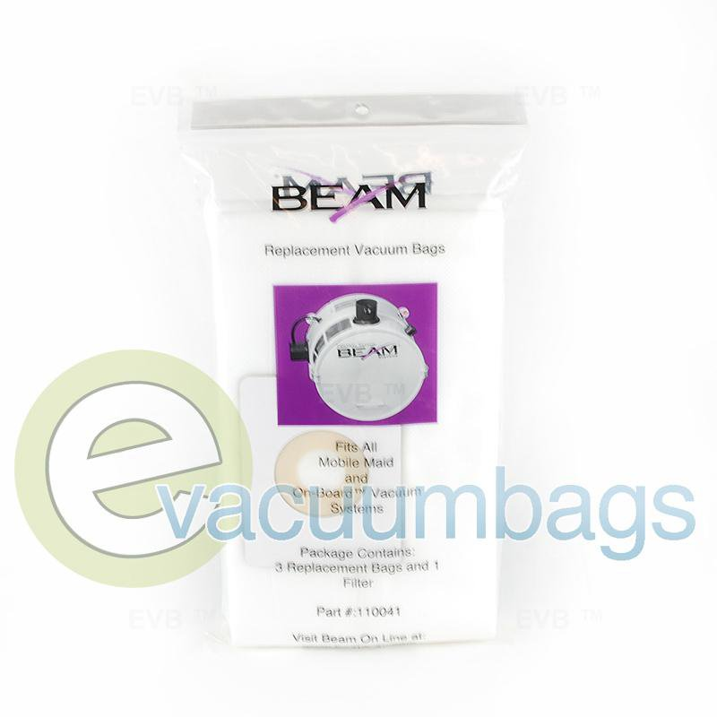Beam Mobile Maid On-Board  Paper Vacuum Bags 3 Pack + 1 Filter  110041 E-110041
