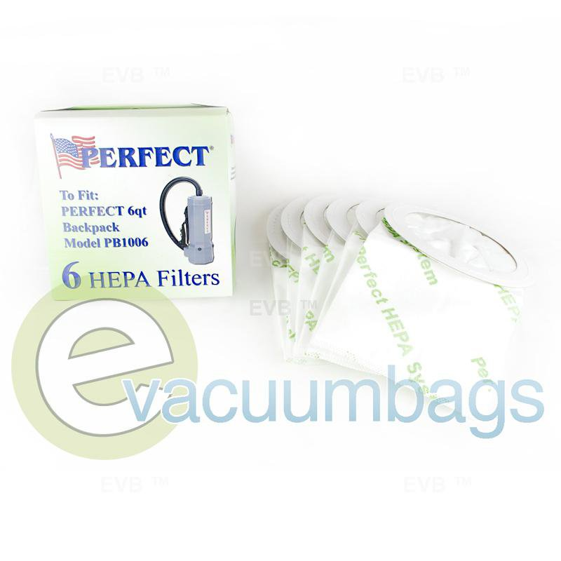 Perfect 6 Quart BackPack HEPA Paper Vacuum Bags 6 Pack  14-2423-09 14-2423-09