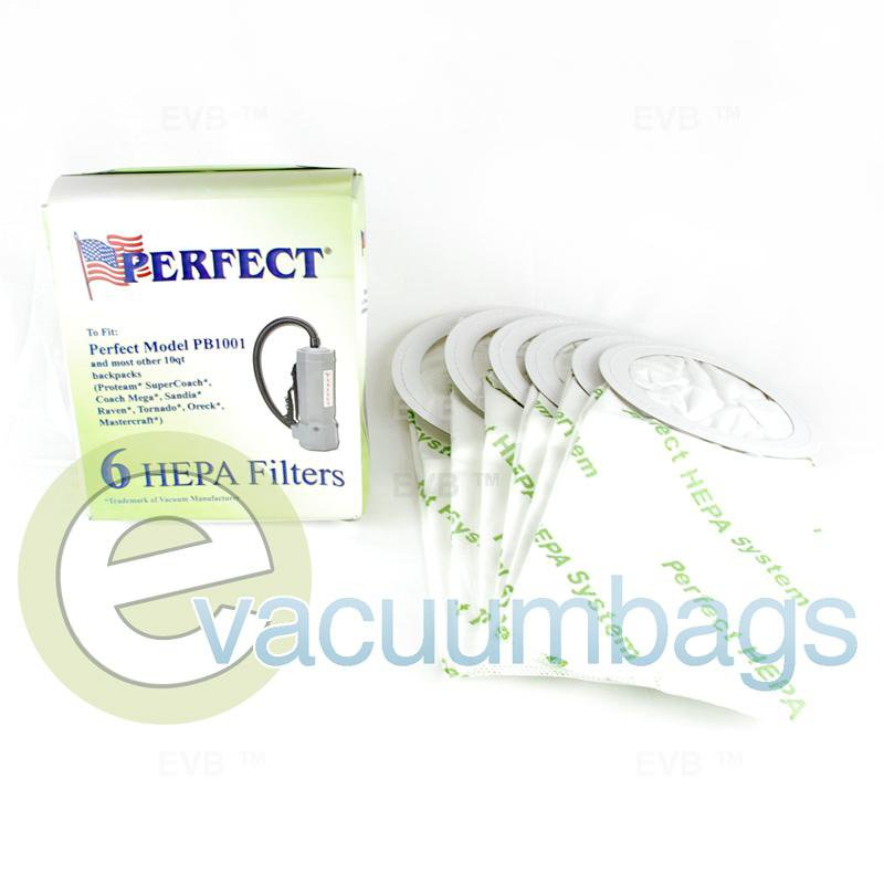 Perfect PB1001 10 Quart BackPack HEPA Vacuum Filter Bags  6 Pack  14-2425-07 14-2425-07
