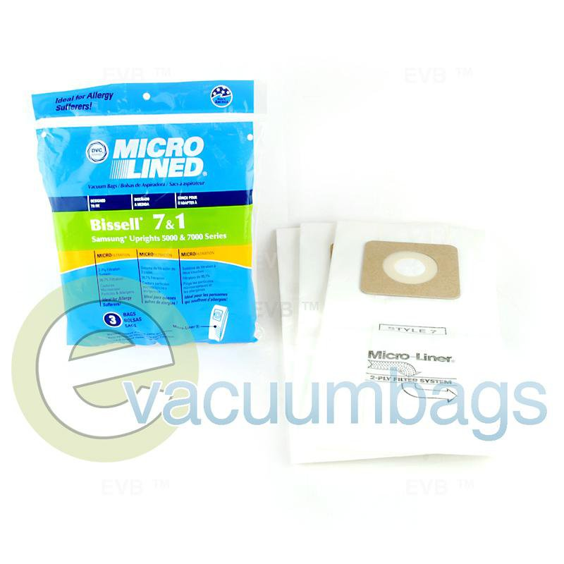 Bissell Style 1 & 7 and Samsung 5000 & &000 Micro Lined Paper Vacuum Bags by DVC, 3 Pack # 447927
