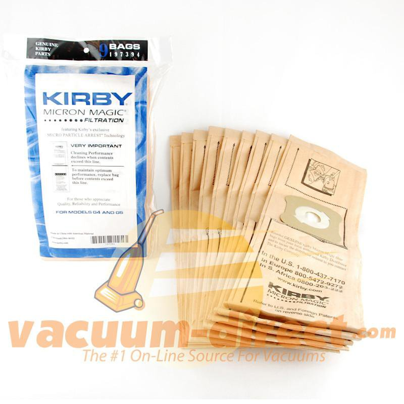 Kirby G4 & G5 Model Micron Magic Filtration Vacuum Bags 9 Pack K-197394