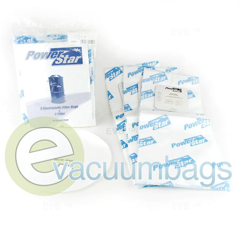 Power Star New-Style 3-Prong Paper Vacuum Bags 3 Bags + 1 Filter  TDSAC33P PS-23661