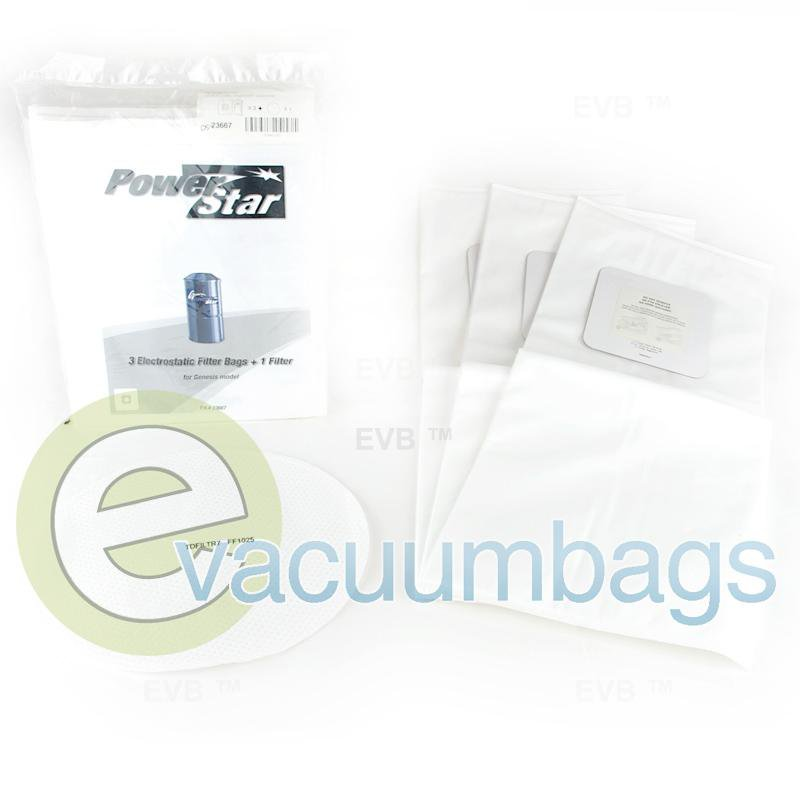Power Star Electrostatic Genesis Filter Paper Vacuum Bags 3 Pack + 1 Filter  TDSAC20Q PS-23667