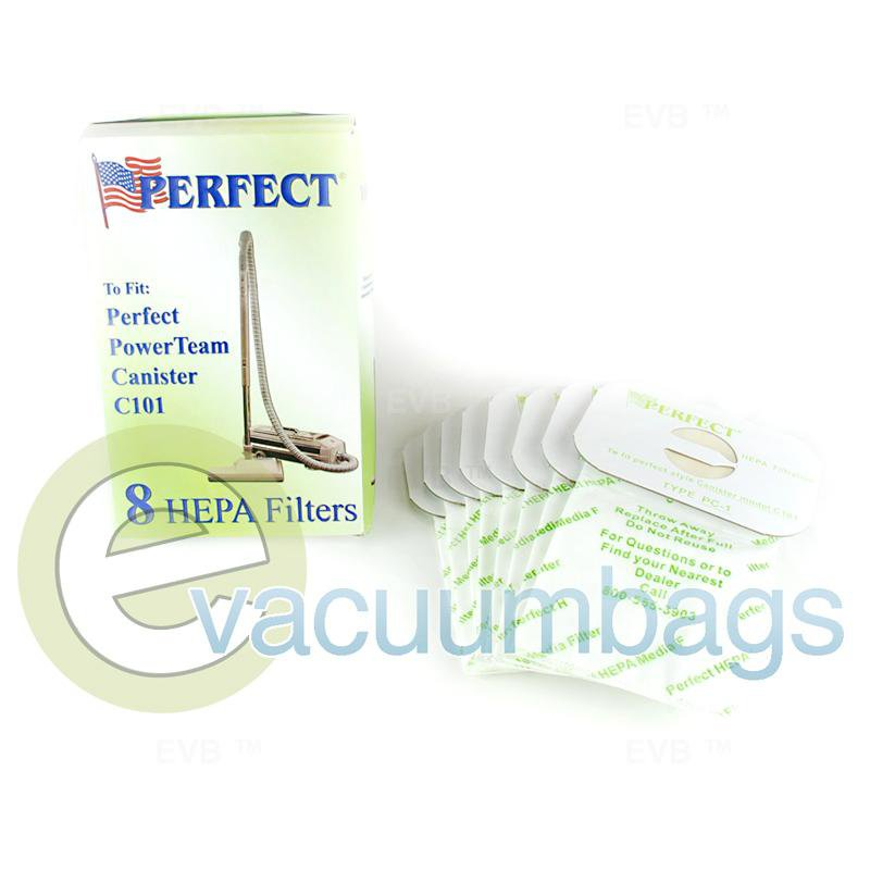 Perfect PowerTeam Canister C101 HEPA Filter Vacuum Bags 8 Pack  151804 PE-1400