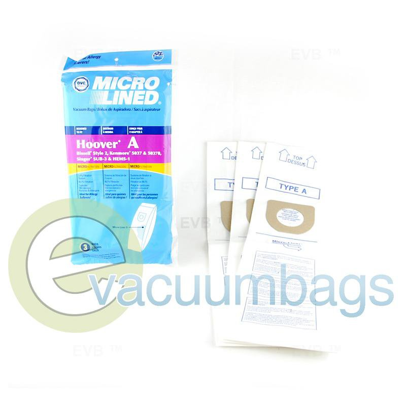 DVC Upright Micro-Lined Paper Vacuum Bags for Bissell Hoover Kenmore & Singer 3 Pack  433896 HR-1471