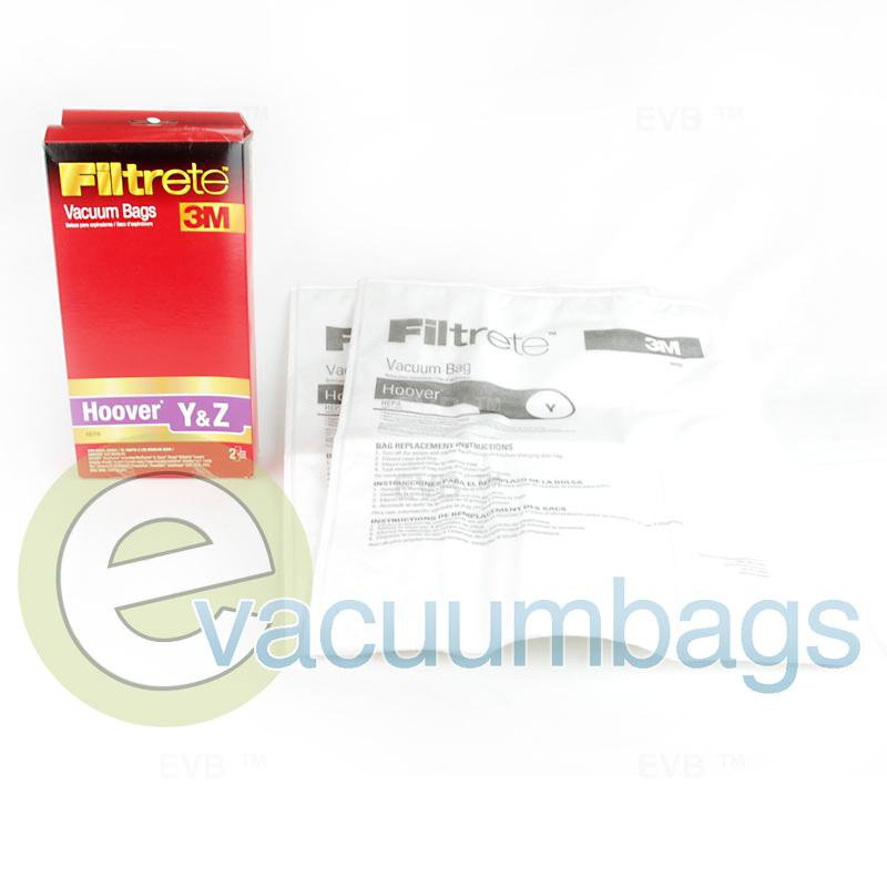 Hoover Style Y and Style Z HEPA Upright Paper Vacuum Bags by 3M Filtrete 2 Pack  64703A 38-2454-03