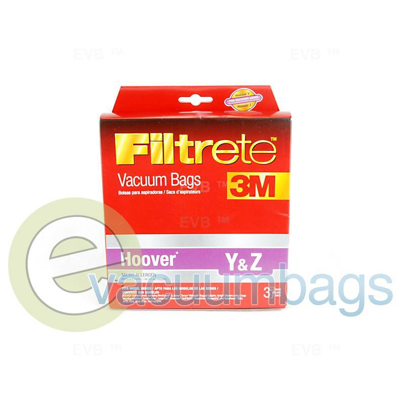 Hoover Style Y and Style Z Upright Micro Allergen Vacuum Bags by 3M Filtrete 3 Pack  64702A 38-2461-04