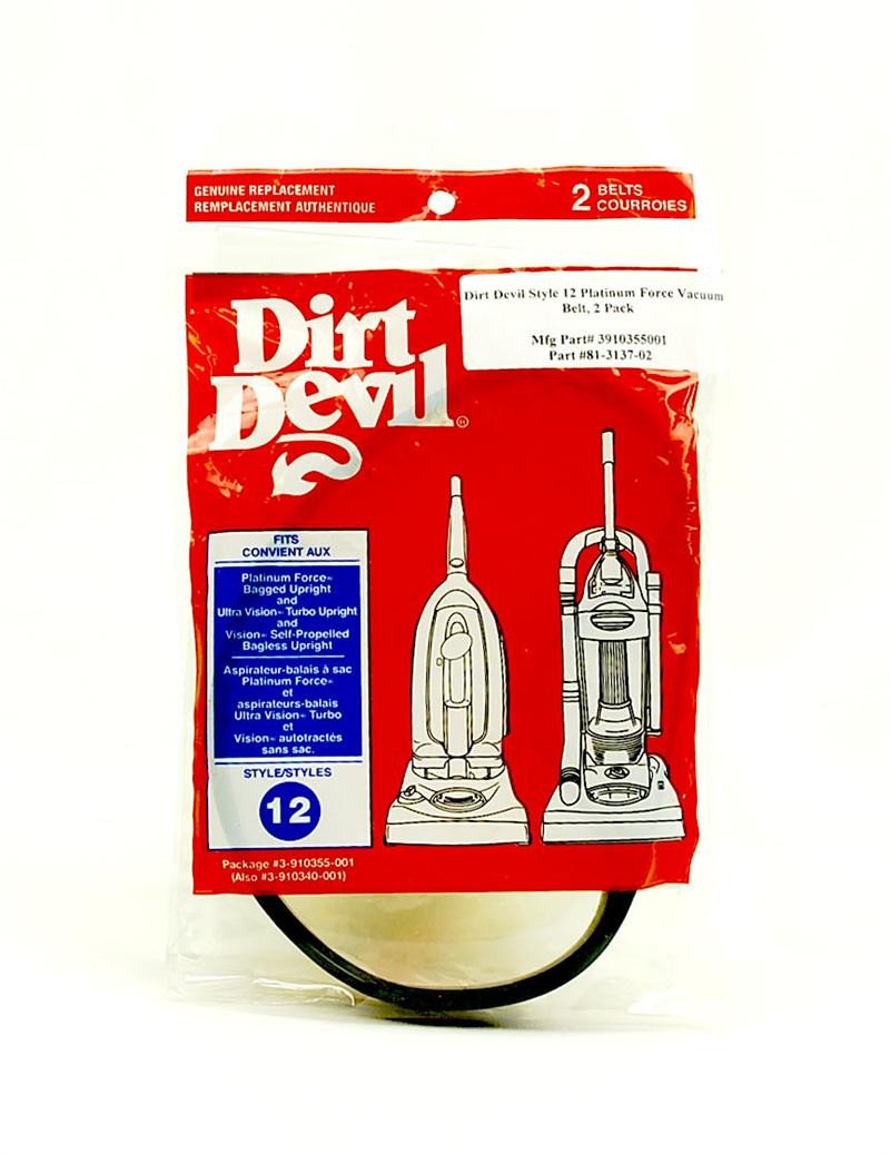 Dirt Devil Style 12 Vacuum Belt for Platinum Force & Vision Uprights 2 Pack 81-3137-02