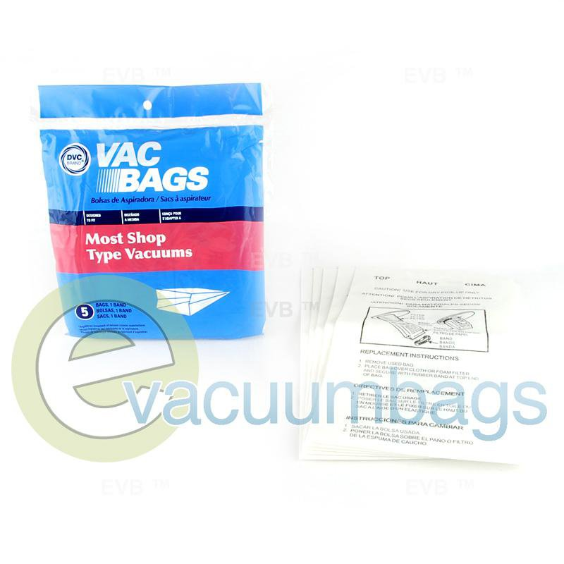 Shop Vac Canister Paper Vacuum Bags by DVC 5 Pack +1 Rubber Band  405515 88-2400-07