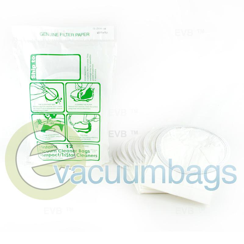 Compact TriStar and Eureka Style J Generic Paper Vacuum Bags by DVC 12 Bags  409650 COR-1412