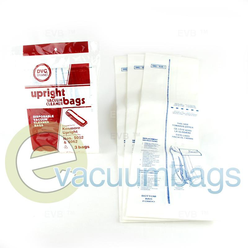 Kenmore 5002 5062 Upright Paper Vacuum Bags by DVC Generic 3 Pack  409936 46-2440-01