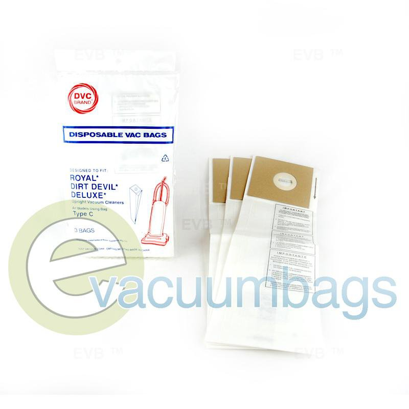 Royal Dirt Devil Type C Upright Paper Vacuum Bags by DVC 3 Pack  429848 ROR-1420