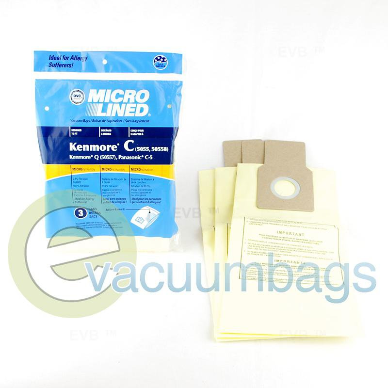 DVC Micro-Lined Canister Paper Vacuum Bags for Kenmore & Panasonic, 3 Pack #433934