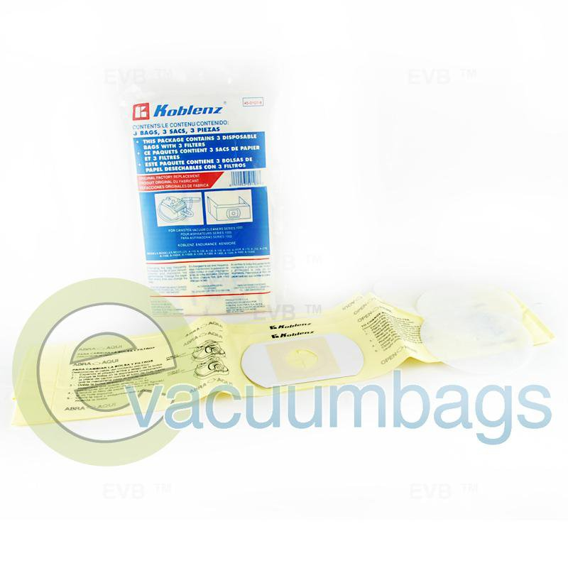 Koblenz 1000 Series Canister Paper Vacuum Bags 3 Bags + 3 Filters  45-0107-8 45-0107-8