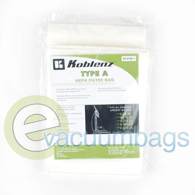 Koblenz Type A Upright HEPA Filter Paper Vacuum Bag 4 Pack  45-0766-1 51-2423-03